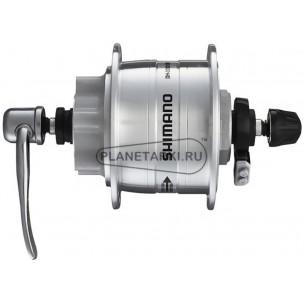 динамо-втулка shimano dh-3d32, 36 отв, qr, серебристая, под дисковые тормоза 6 болт