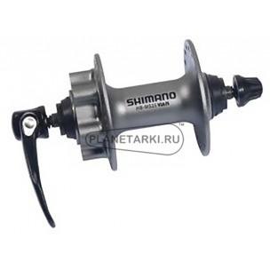 втулка передняя shimano deore m525a, qr, 6-болт, серебристая