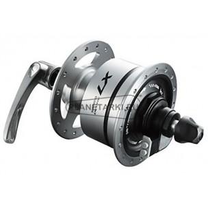 динамо-втулка shimano t675, 32 отв, qr, c-lock, серебристая