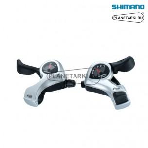 шифтер shimano tourney sl-tx50, пара, 3х6 ск., серебро, esltx50p6sat