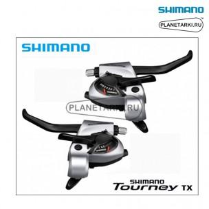 комбошифтер shimano tourney st-tx800, пара, 3х8 ск., серебро, esttx800p8as