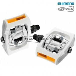 педали shimano pd-t400 click'r белые, epdt400wr