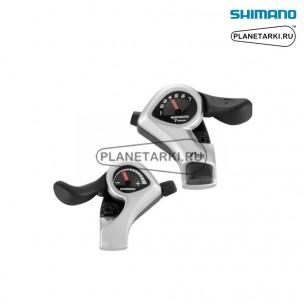 шифтер shimano tourney sl-tx50, пара, 3х7 ск., серебро, esltx50p7fat